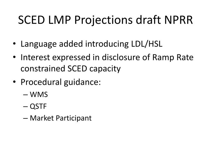 SCED LMP Projections draft NPRR
