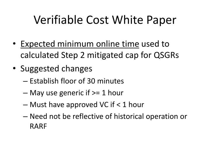 Verifiable cost white paper