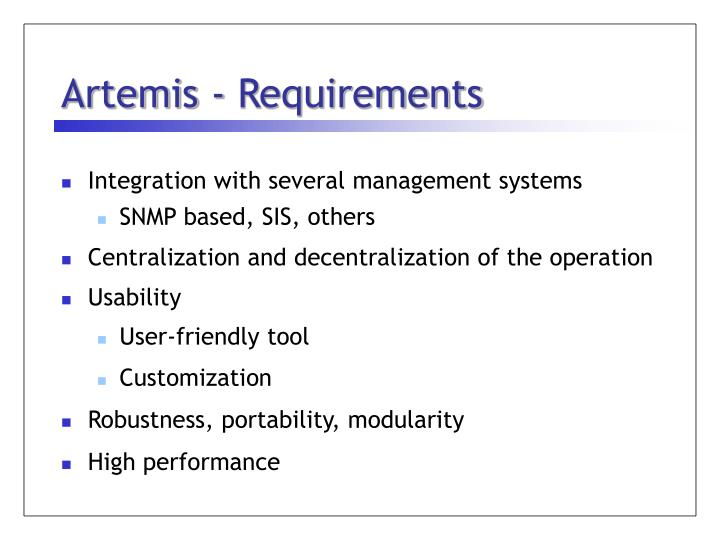 Artemis - Requirements