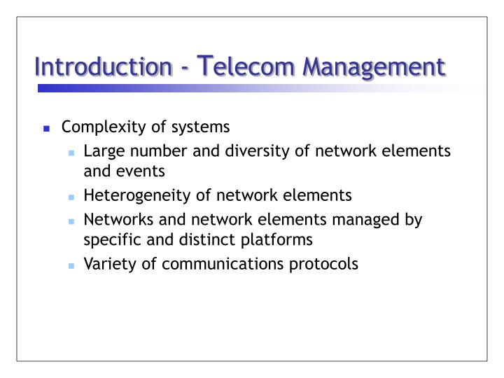Introduction t elecom management