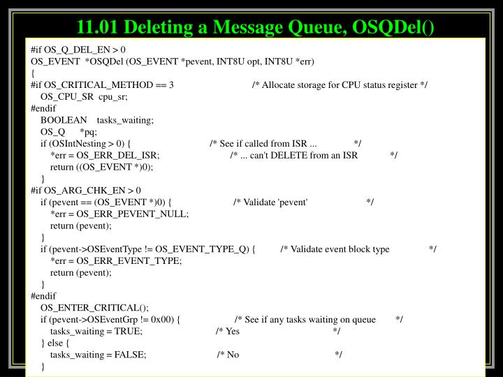 11.01 Deleting a Message Queue, OSQDel()