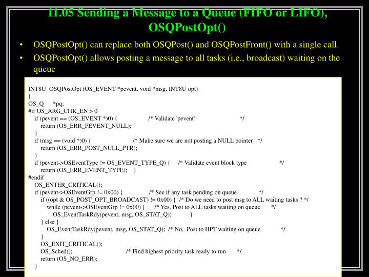 11.05 Sending a Message to a Queue (FIFO or LIFO), OSQPostOpt()
