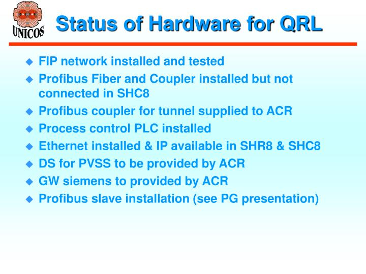 Status of Hardware for QRL