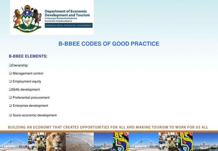 B bbee codes of good practice