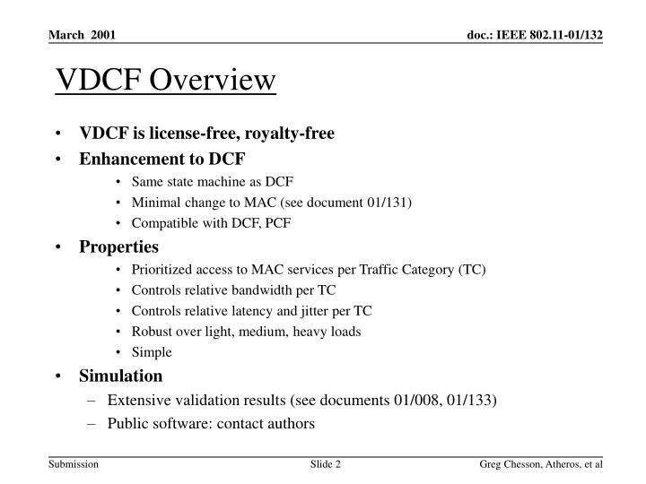 Vdcf overview