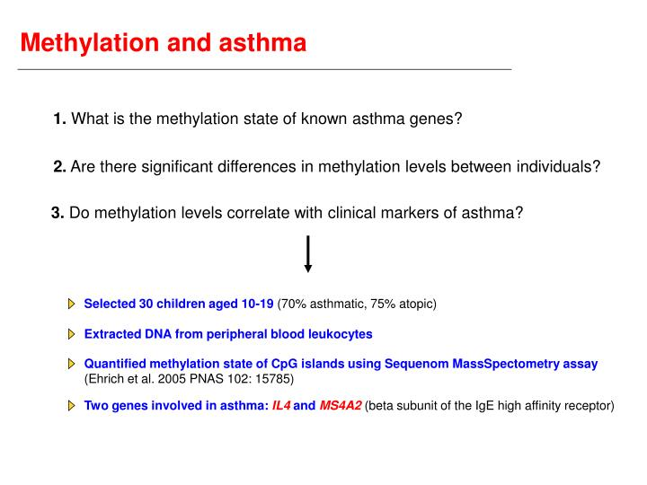 Methylation and asthma