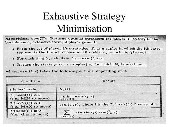 Exhaustive Strategy Minimisation