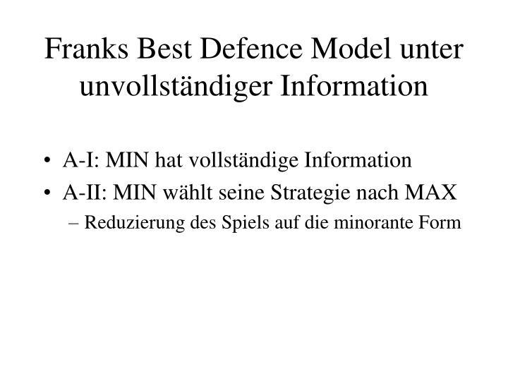 Franks Best Defence Model unter unvollständiger Information