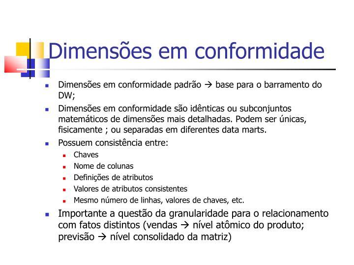 Dimensões em conformidade