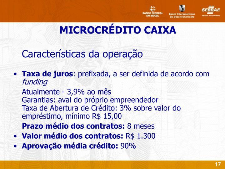 Características da operação