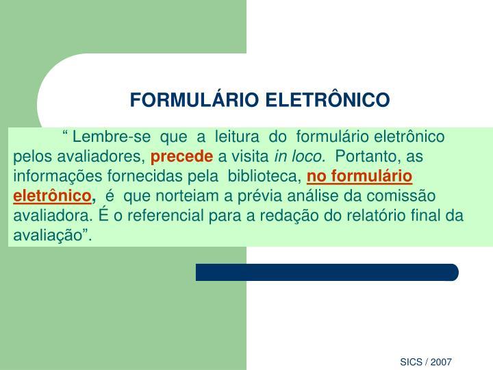 FORMULÁRIO ELETRÔNICO