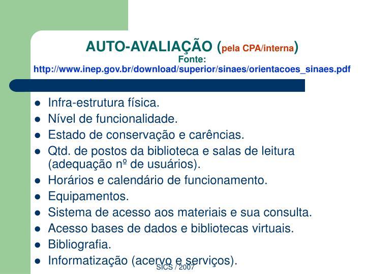 AUTO-AVALIAÇÃO (