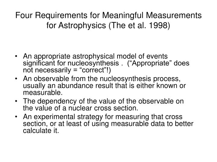 Four requirements for meaningful measurements for astrophysics the et al 1998