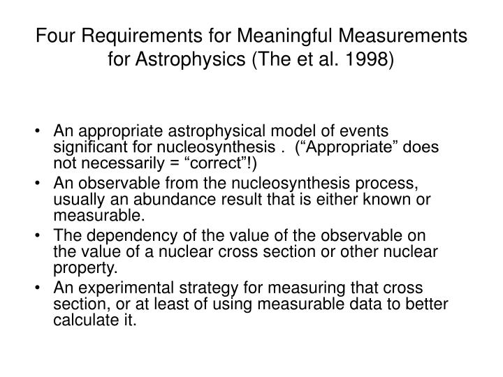Four Requirements for Meaningful Measurements for Astrophysics (The et al. 1998)