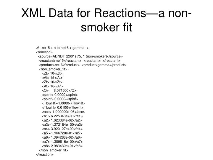 XML Data for Reactions—a non-smoker fit