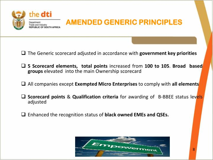 AMENDED GENERIC PRINCIPLES