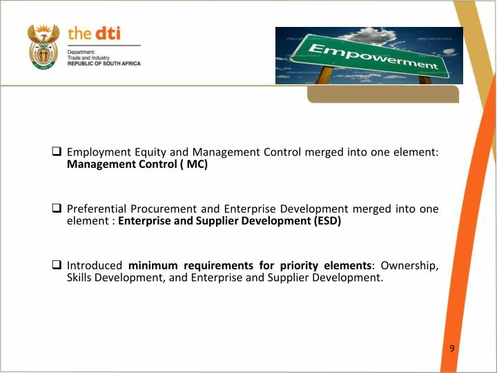 Employment Equity and Management Control merged into one element: