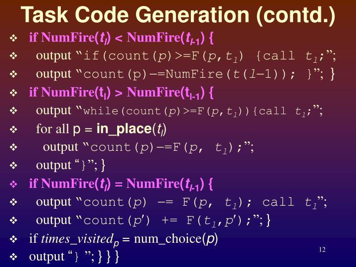Task Code Generation (contd.)