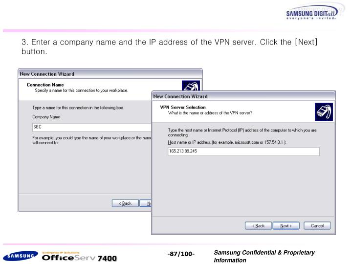 3. Enter a company name and the IP address of the VPN server. Click the [Next] button.