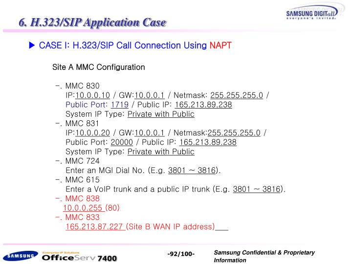 6. H.323/SIP Application Case