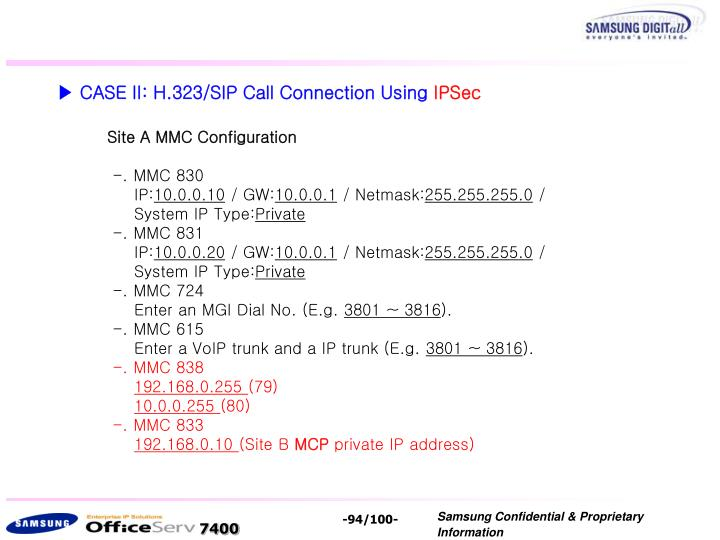▶ CASE II: H.323/SIP Call Connection Using