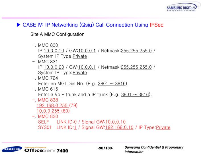 ▶ CASE IV: IP Networking (Qsig) Call Connection Using