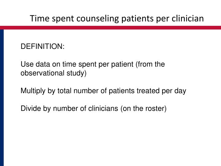 Time spent counseling patients per clinician