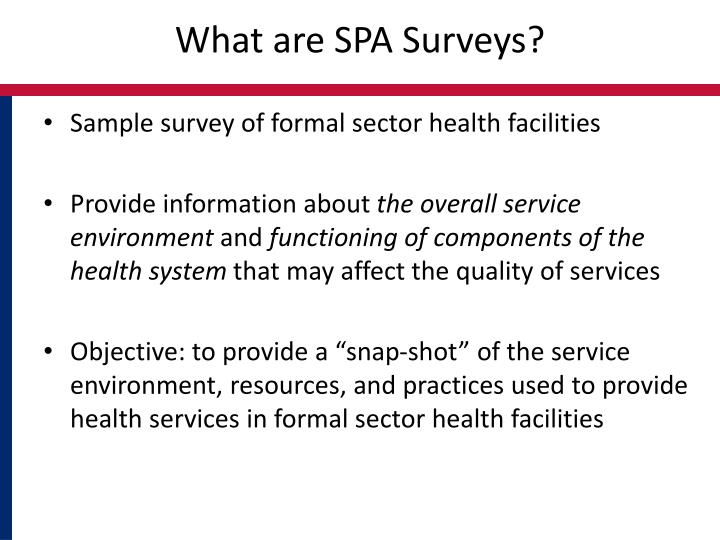 What are spa surveys