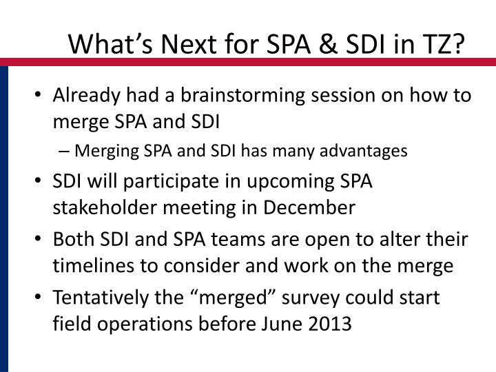 What's Next for SPA & SDI in TZ?