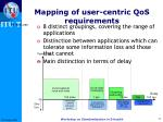mapping of user centric qos requirements