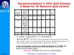 recommendation y 1541 qos classes a basis for ip network qos control1