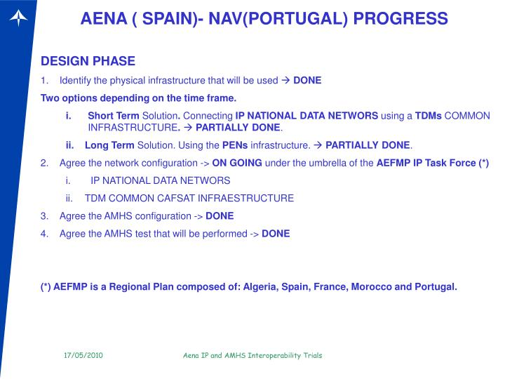 AENA ( SPAIN)- NAV(PORTUGAL) PROGRESS