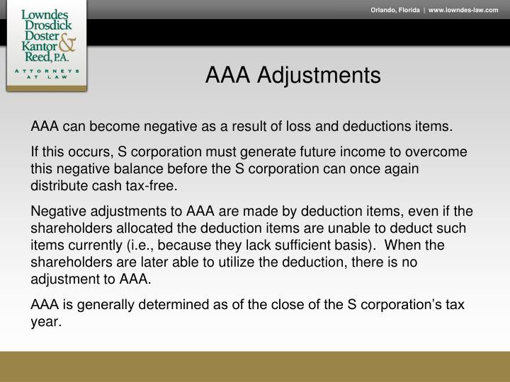 AAA Adjustments