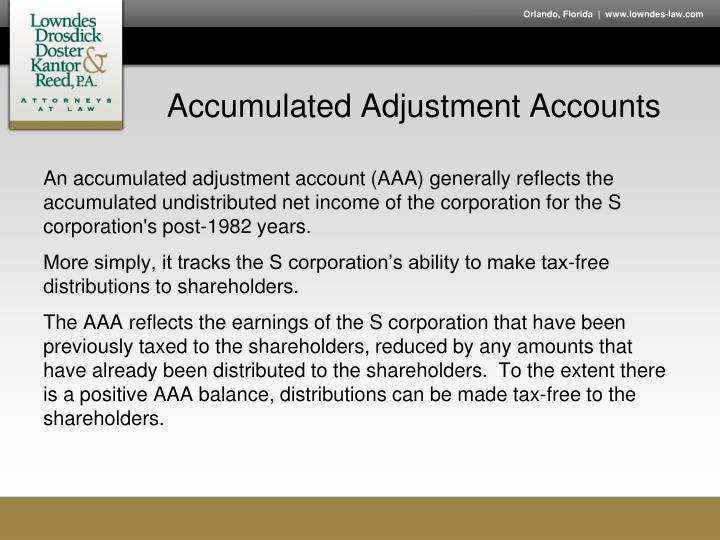 Accumulated adjustment accounts