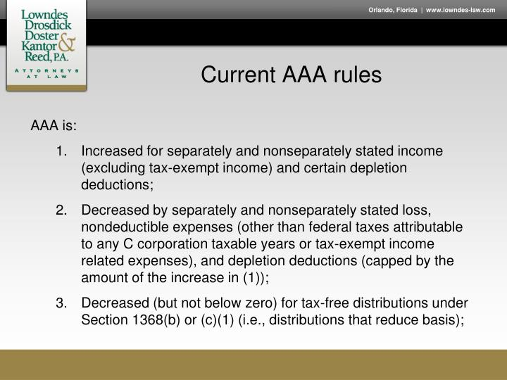 Current AAA rules