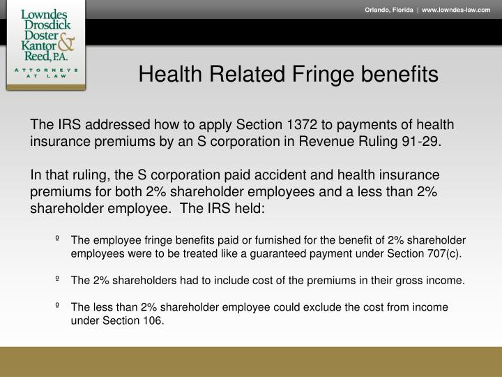 Health Related Fringe benefits