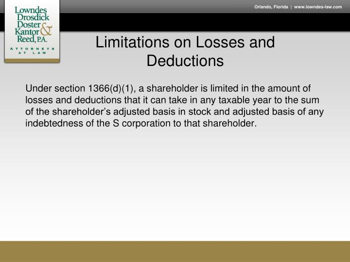 Limitations on Losses and Deductions