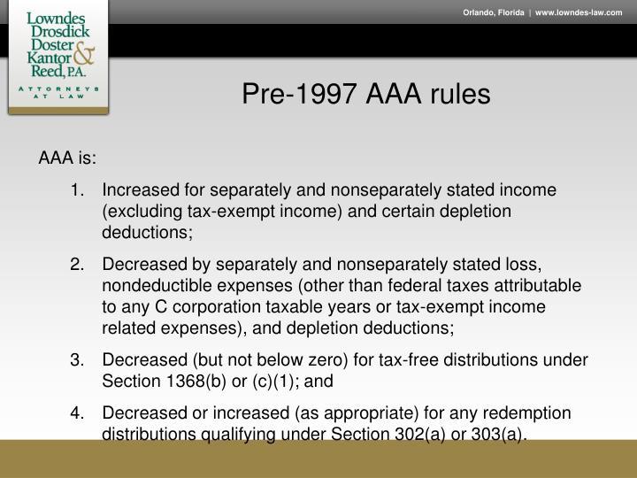 Pre-1997 AAA rules