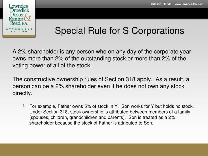 Special Rule for S Corporations