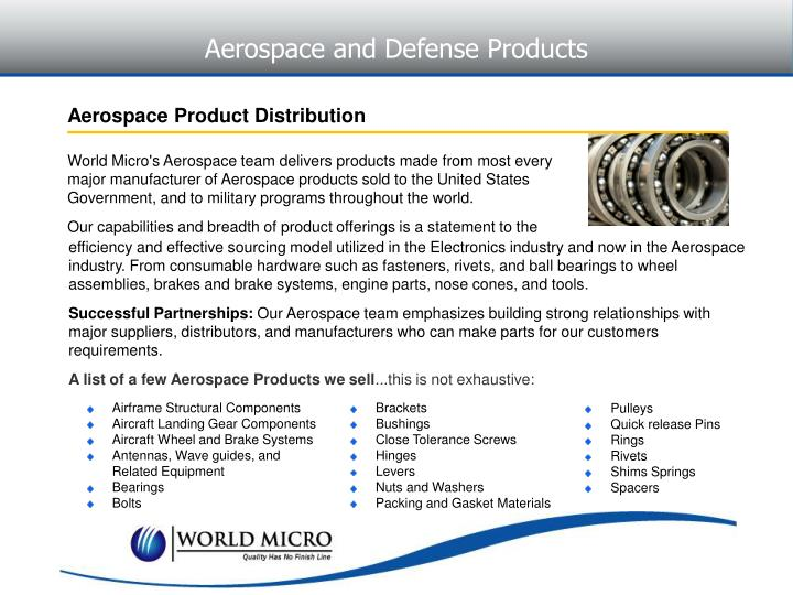 Aerospace and Defense Products