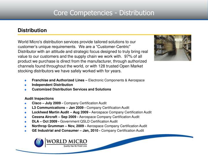 Core Competencies - Distribution