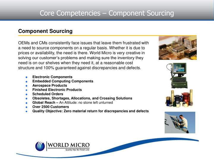 Core Competencies – Component Sourcing