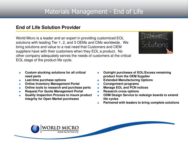 Materials Management - End of Life