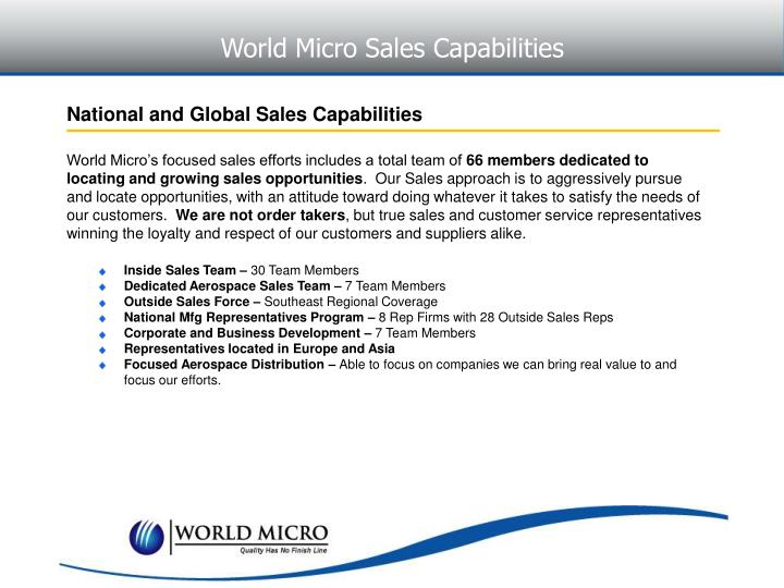 World Micro Sales Capabilities