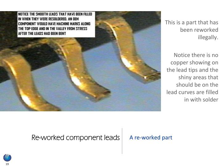 Re-worked component leads