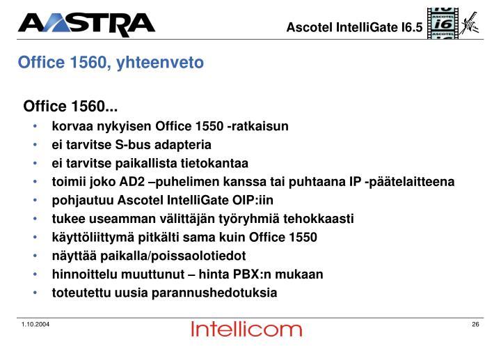 Office 1560, yhteenveto