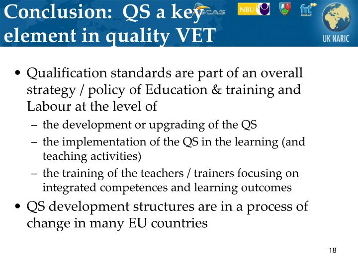 Conclusion:  QS a key element in quality VET