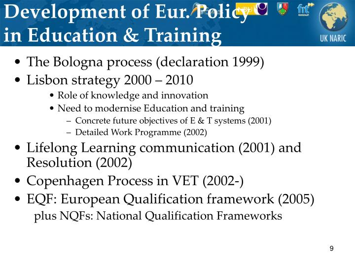 Development of Eur. Policy in Education & Training