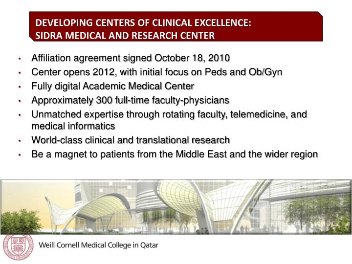 DEVELOPING CENTERS OF CLINICAL EXCELLENCE: