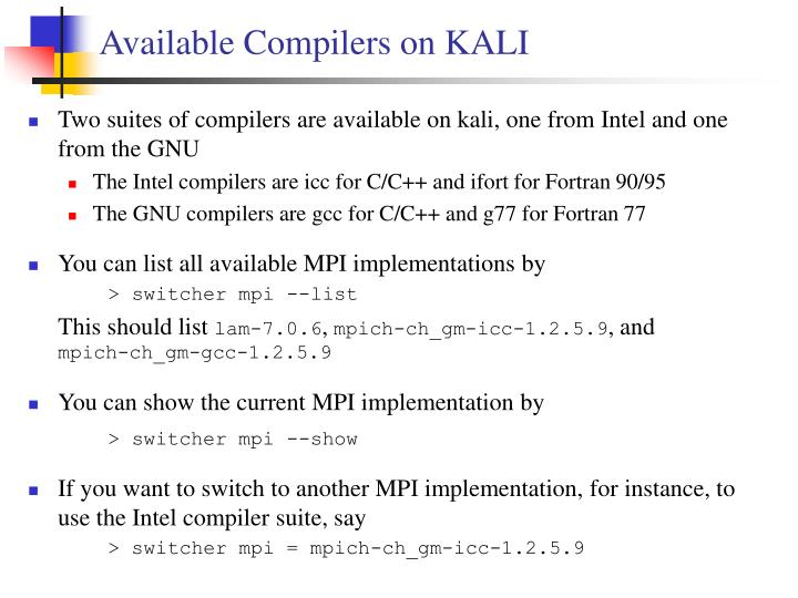 Available Compilers on KALI